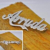 Personalizado Nome Do Sinal Da Empresa Personalizado Placa de Identificação de Prata Pin Broche 925 Sólida Festa Lembrança Lembrança de Jóias broche