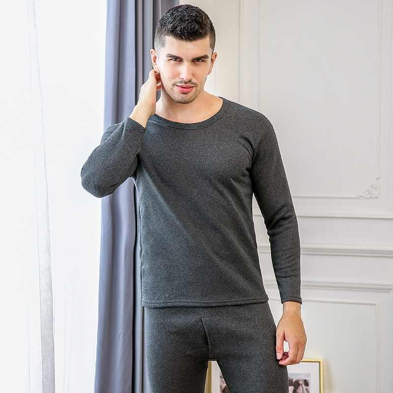 XL-3XL Erkekler Kadınlar Artı Kadife Kalın Gömlek + Pantolon 2 Parça Set Kış sıcak Iç Çamaşırı Konfor Termal Uzun Pijama Çift takım elbise