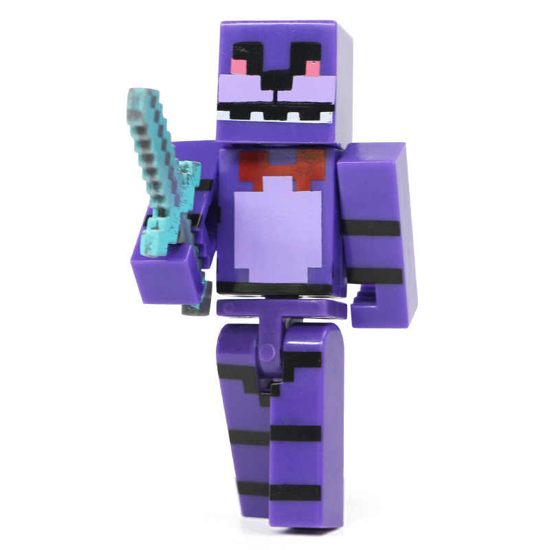 4pcs Plastic Doll for Minecraft FNAF Toy Set for Five Nights At Freddy's  Foxy Chica Bonnie Action Figures with Sword Kid Gift