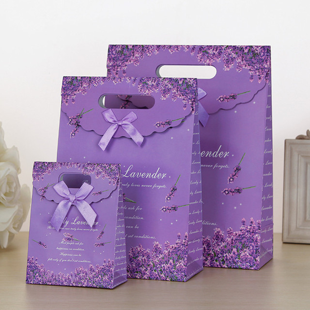 Lavender Purple Gift Bag Valentine Portable Birthday Favor Wedding Bags Wholesale L M S