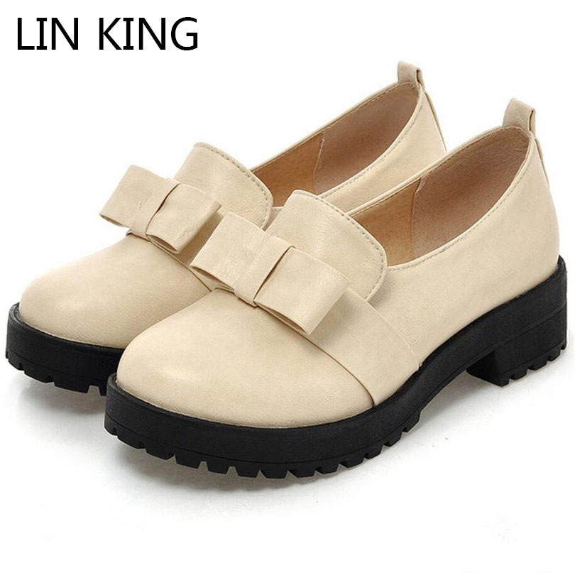 LIN KING Med Heel Women Pumps Casual Round Toe Pu Leatehr Shoes Sweet Slip On Lolita Shoes Fashion Bowtie Lazy Round Toe Shoes lin king fashion pu leather women flats shoes round toe loafers comfortable slip on casual shoes solid breathable girl lazy shoe