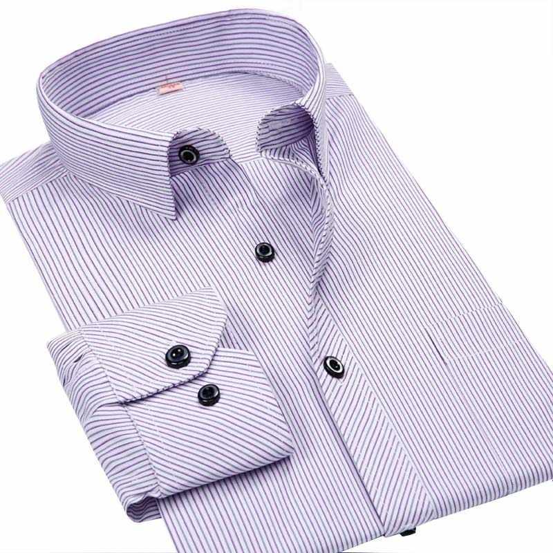 6XL синяя/белая/черная рубашка мужская деловая Повседневная рубашка с длинными рукавами Классическая полосатая мужская одежда рубашки camisa masculina