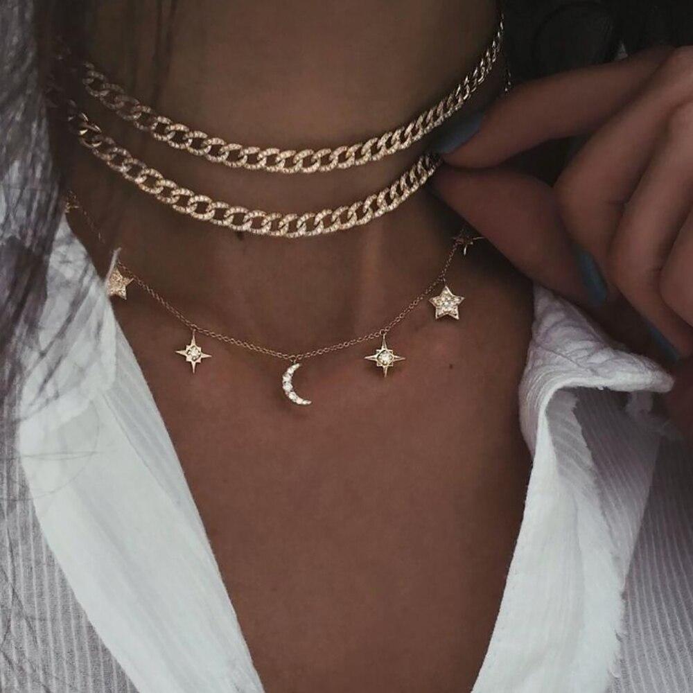 Богемное многослойное ожерелье с кулоном из кристаллов для женщин, золотые модные многослойные ожерелья и кулоны, ювелирные изделия