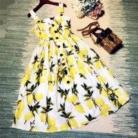Neue 2018 mode frauen sommerkleid gelbe zitrone muster drucken baumwolle kleider spaghetti elegante lässige kleidung niedlich schwarze knöpfe