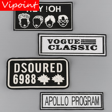 VIPOINT embroidery printed warning patches letter alphabet badges applique for clothing YM-17