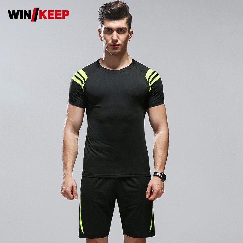 US $25.25 43% OFF|Gym Wear Men Sportswear Tracksuit 2019 Fitness Suit For Men Compression Suit Yellow Running Clothes Outdoor Running Jogging 3XL in