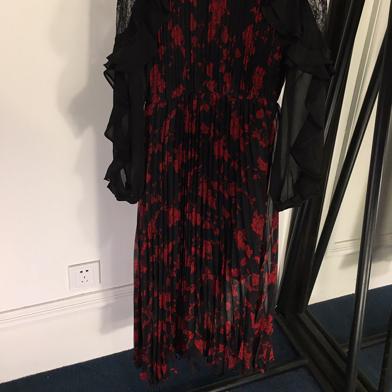 No Robe Élégant Manches Robes Designer Imprimer Longues Vintage 1 Nouvelle 2019 Mode À Femmes Dentelle OvxvBq57w