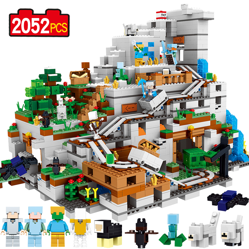 2052pcs My Worlds The Mountain Cave Mine Building Block Compatible 21137 Brick Toy 33067 Christmas gift the forbidden worlds of haruki murakami