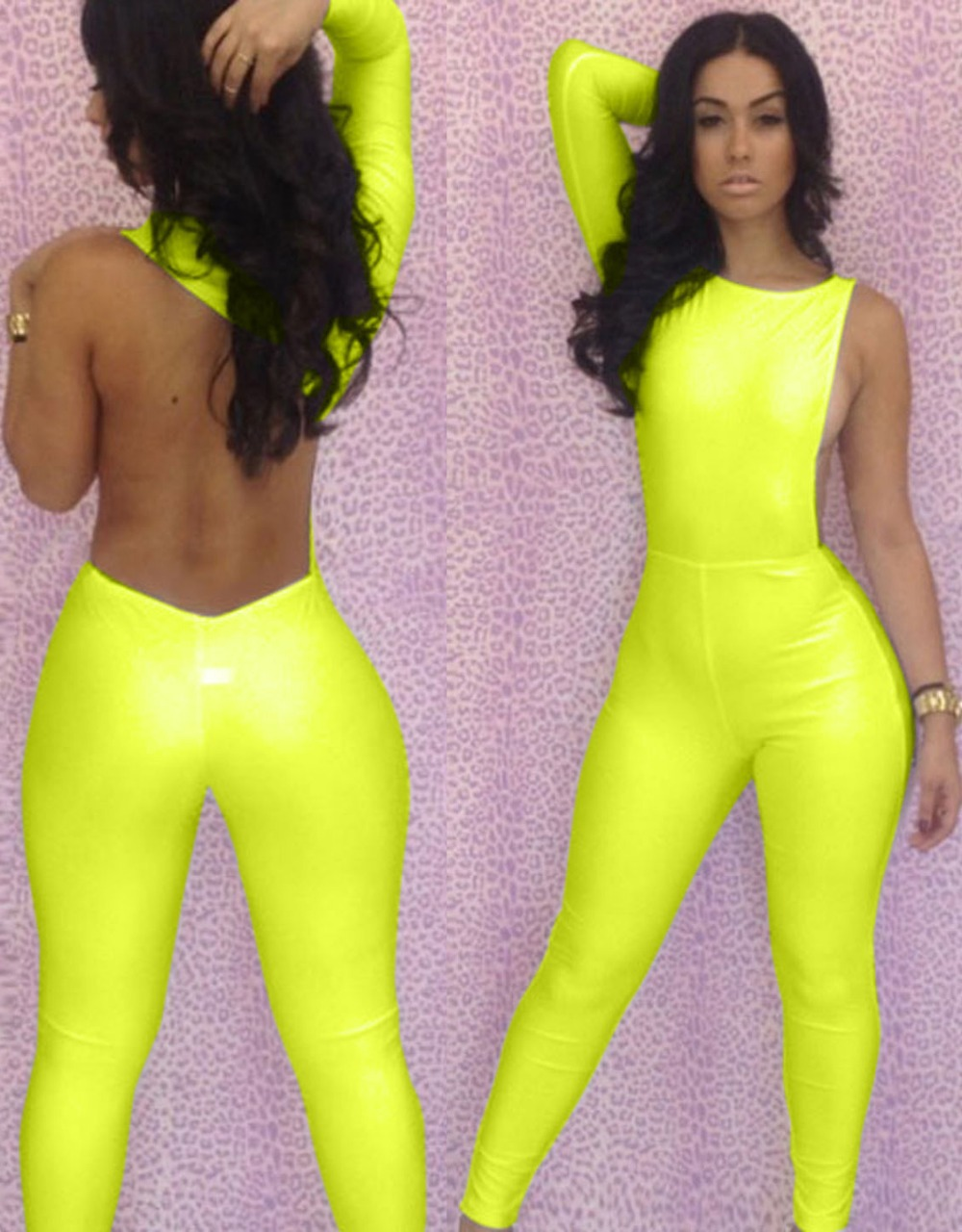 Sexy Plus Size Catsuit One Shoulder Hot White Black Yellow Women Jumpsuit Romper Body -8707