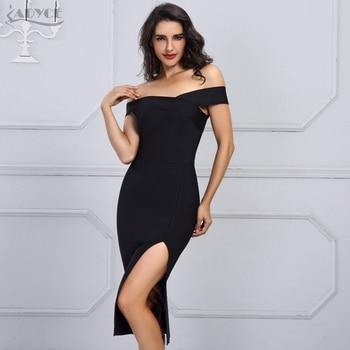 Black Sexy Off the Shoulder Bodycon Dress Women Celebrity Party Dress