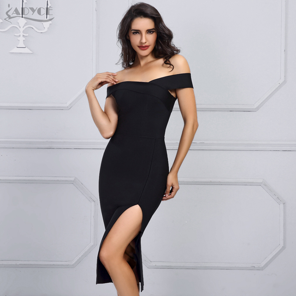 Adyce 2020 New Summer White Bandage Dress Women Vestidos Black Sexy Off Shoulder Bodycon Club Dress Celebrity Runway Party Dress