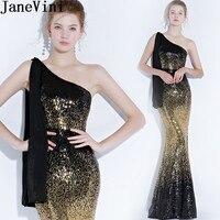 JaneVini пикантные блестящие пайетки Русалка платья невесты длинные градиент Черное золото одно плечо нарядные платья для свадьбы Vestidos Dama