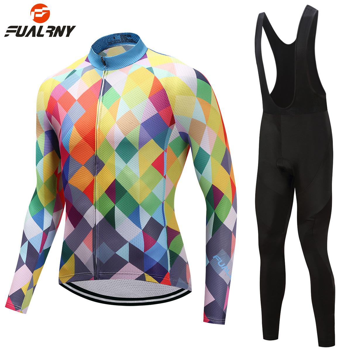 FUALRNY Pro Fabric Breathable Cycling Suit Jersey Long Sleeve Set Men Women Bicycle Cycling Clothing Bike Wear Maillot Ropa Set ckahsbi winter long sleeve men uv protect cycling jerseys suit mountain bike quick dry breathable riding pants new clothing sets