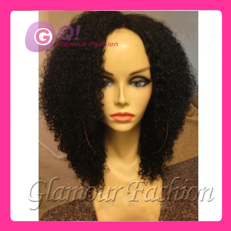 GQ Kinky Curly Wigs For Black Women Glueless Lace Front Human Hair Wigs  Cheap Short 100 Human Hair Afro Kinky Curly Wigs on Sale 5cbbd9f311