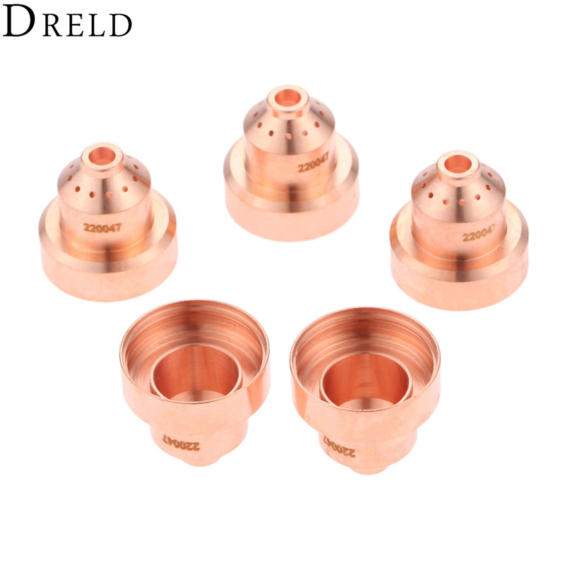 DRELD 5pcs 220047 Shield Cup For Plasma Cutting 1650 Torch Consumables 100A Mechanized Torch Welding Soldering Supplies
