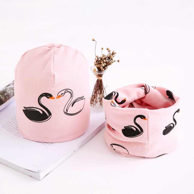 Baby Cap Scarf Set Swan Pattern Cotton Hat Scarf For Baby Girls And Boys Winter Children Girls Hats 3 months to 8 Years