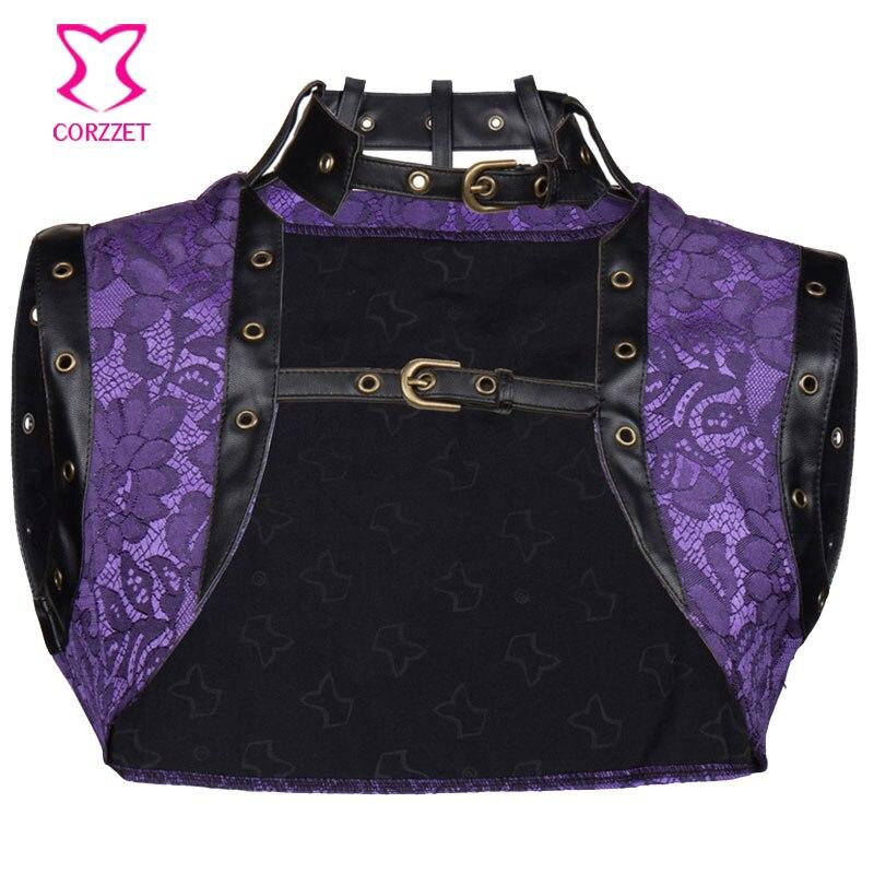 Purple vintage capa de la chaqueta del bolero top plus size corsés y bustiers 6x