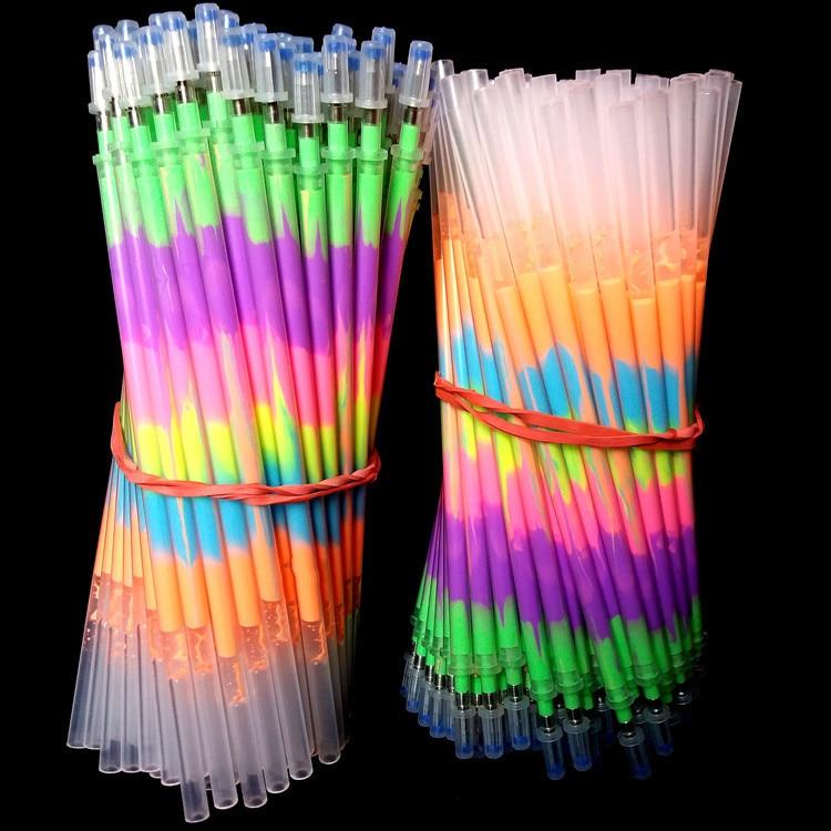 10 Pcs Multi Color Rainbow Refill Highlighters Gel Pen Ball Point Pen Students Painting Graffiti Fluorescent Refill