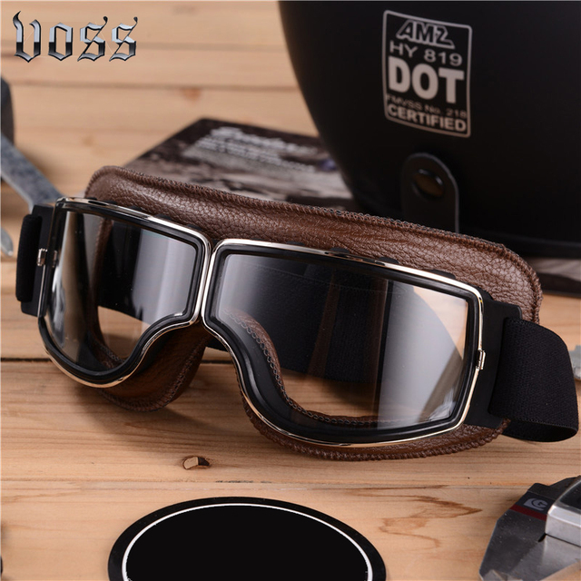Best Selling Vintage Goggles Harley Motorcycle Leather Goggles Glasses Cruiser Folding Goggles 3-Color Leather 4-Color Lens