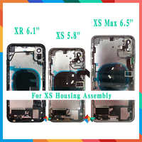 Back Cover For iphone X / XR / XS / XS Max Back Middle Frame Chassis Full Housing Assembly Battery Cover with Flex Cable