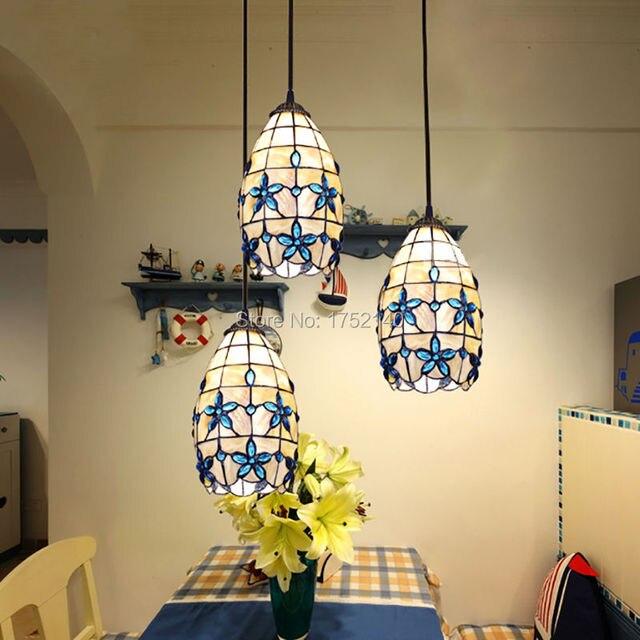Mediterranean tiffany lilac pendant lights shell blue crystal led bulb suspension lamp home restaurant