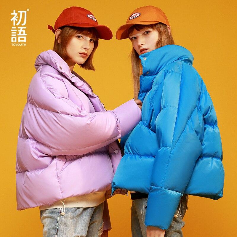 Toyouth Solto Destacável Com Capuz Mulheres Para Baixo Casaco Sólida Manga Longa Casaco de Inverno Quente Outwear Jaquetas de Pato Para Baixo Casaco Feminino