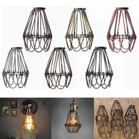 Retro Vintage Industrial Pendant Light Bulb Guard Wire Cage Hanging Ceiling Light Fitting Bars Cafe Lamp