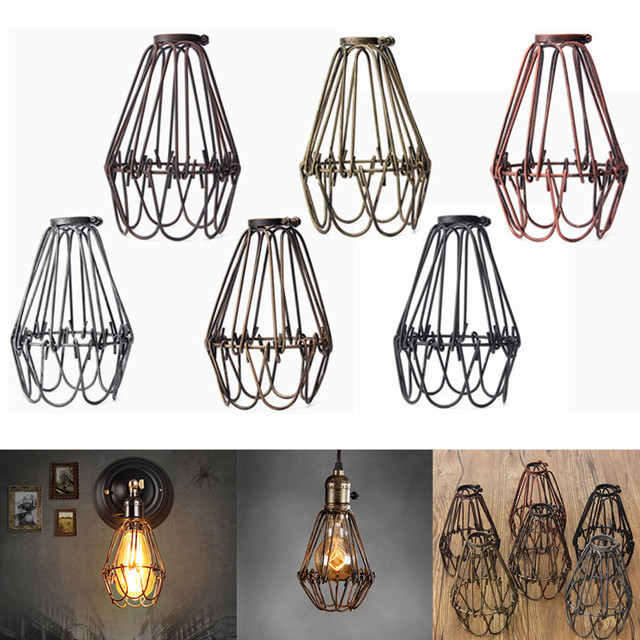 Retro vintage industrial pendant light bulb guard wire cage hanging retro vintage industrial pendant light bulb guard wire cage hanging ceiling light fitting bars cafe lamp aloadofball Images