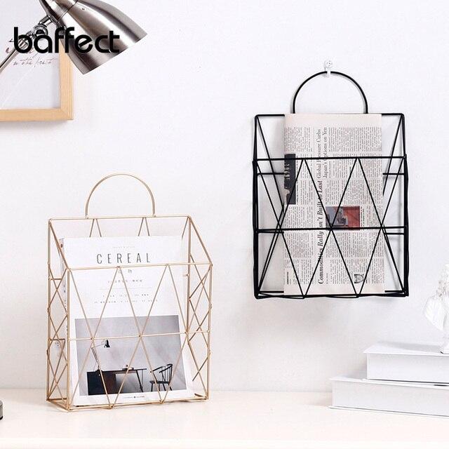 Nordic Metal Gold Storage Basket Elegant Wall Hanging Portable Net Iron Storage Basket Desk Magazine Newspaper Organizer