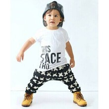 Retail 2016 Fashion Summer Boys thanks Sets Kids thanks Short Sleeve t-shirts letters + Striped Pant Boys Clothing Set