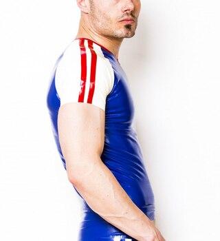 Silk Jacket Mens | Latex Shirt Blue & White Rubber Latex V-neck Suit Red Trim