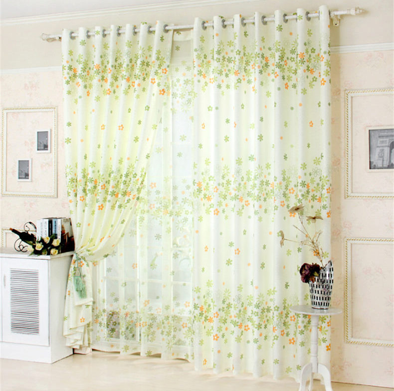 hot 2015 new rustic floral green bedroom curtain fresh