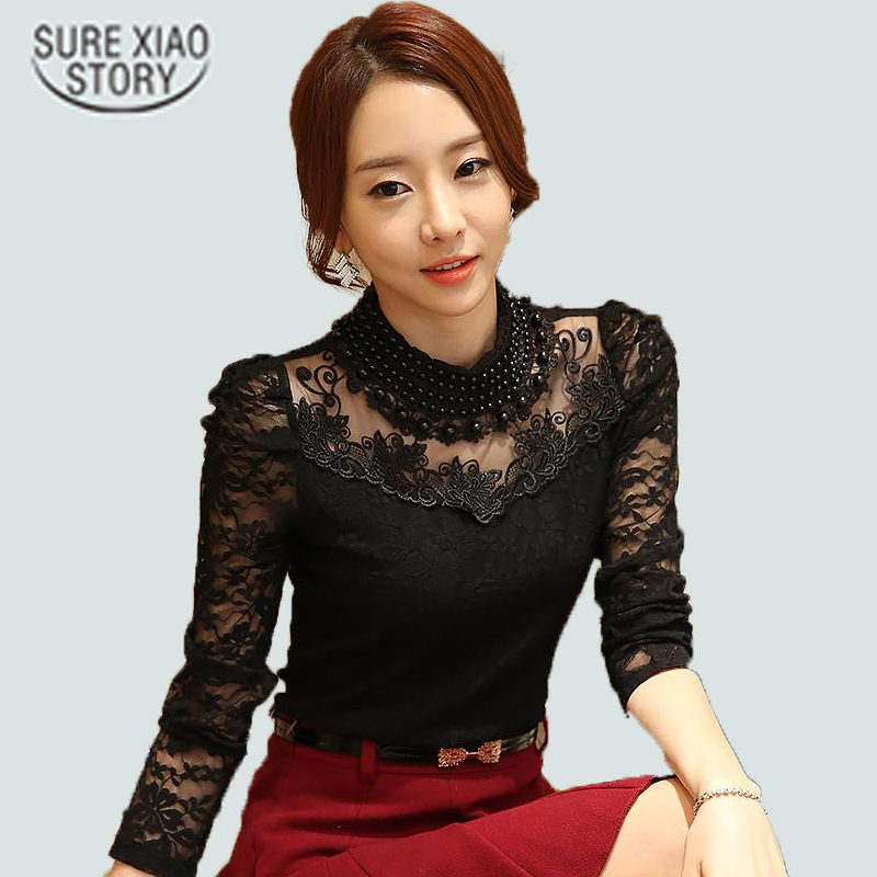 Annie store 2016 New fashion Plus size Women's Shirts Stand Pearl Collar Lace Crochet Blouse Shirts long sleeve sexy tops Women clothing 3XL