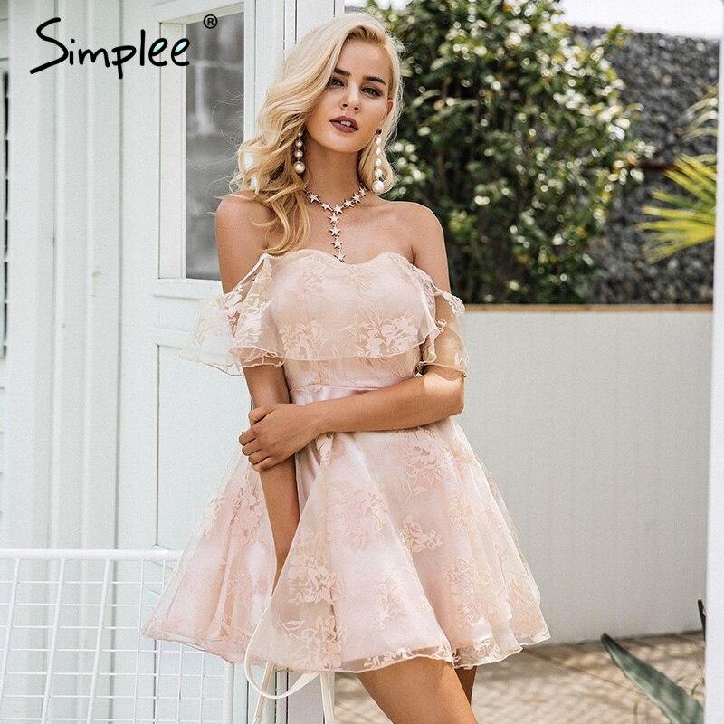 simplee off flor del hombro de malla vestido de verano elegante de las mujeres de cintura
