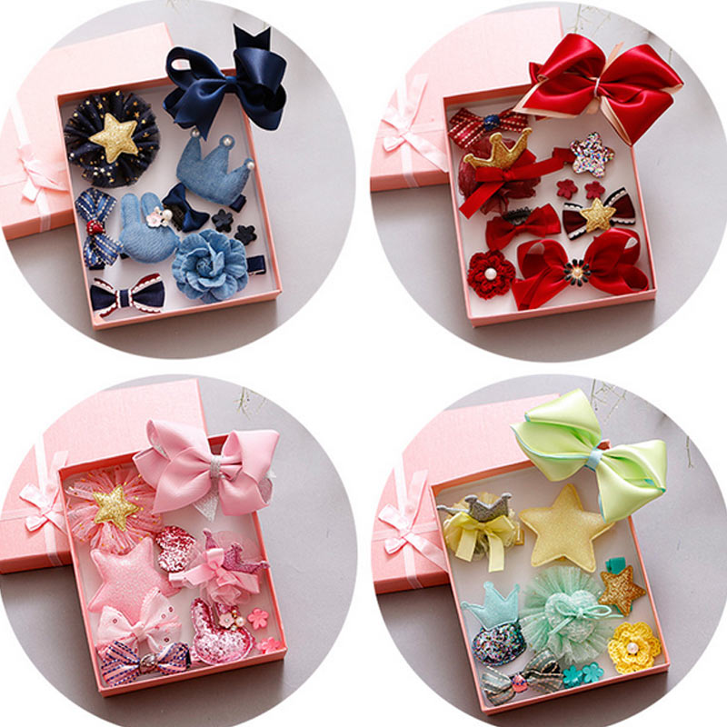 Fashion Cute Kids Girls Hair Clips Set Cartoon Crown Flower Bow Cloth Ribbon Hairpins Hair Accessories Gifts H9 2 pcs lot 4 high quality pearl hair bow for girls sweet cute hair clips rhinestone ribbon diy fashion headwear