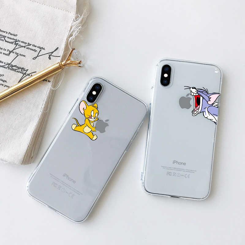 Bonito dos desenhos animados transparente neve branco macio tpu silicone telefone volta capa para o iphone xs max x xr 7 8 plus 6 6 s mais 5 5S se
