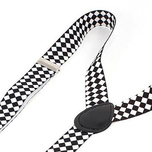 HOT SALE!Unisex White Black Argyle Pattern Adjustable Y-Shaped Suspender Braces