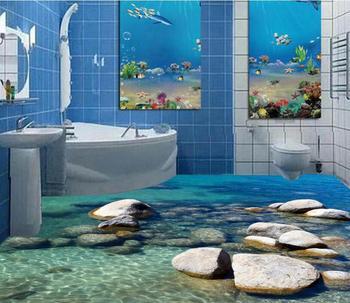 Darmowa wysyłka 3D niestandardowe nowoczesne rzeki kamienie naklejki ścienne starfishs na podłogę w łazience malowanie fototapety na ścianach 3d