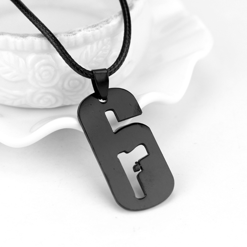 US $0 88 38% OFF Cool Dog Tag Gun Black 6 Pendant Tom Clancy's Rainbow Six:  Siege Operators Rope Chain Alloy Game Necklace High Quality Jewelry-in