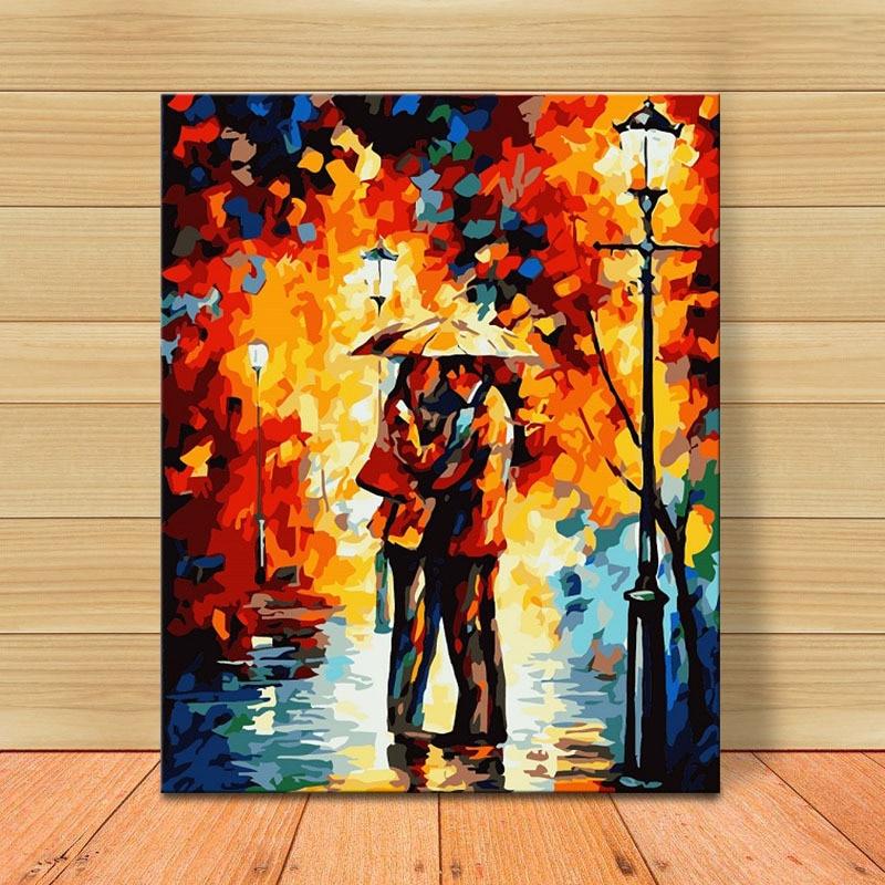 Forte Molek Pioggia Amanti Della Pittura A Olio Dai Numeri Romantico Quadri Su Tela Pittura Colorazione Disegno Artwork Poster Da Parete Per Complementi Arredo Casa