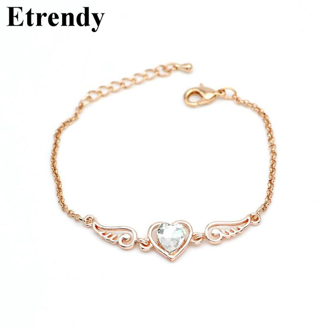 Heart Crystal Angel Wings Bracelets For Women Bijoux New Elegant Bracelet Fashion Jewelry Cute Gift