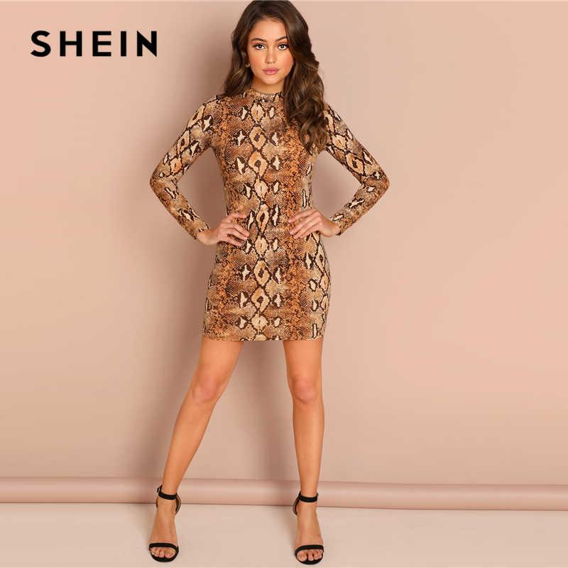 SHEIN Brown Party Sexy skóra węża Mock Neck z długim rękawem obcisła, krótka sukienka jesień klub eleganckie nowoczesne Lady kobiety sukienki