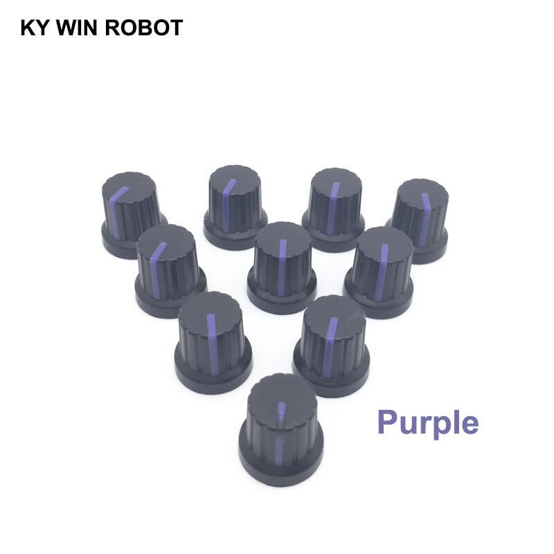 New 10 Pcs Purple 6mm Shaft Hole Dia Plastic Threaded Knurled Potentiometer Knobs Caps