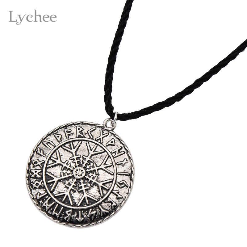 ライチodin'sシンボルの北欧runicペンダントネックレスバイキングルーンvegvisirコンパスペンダントneckalceジュエリー用男性女性