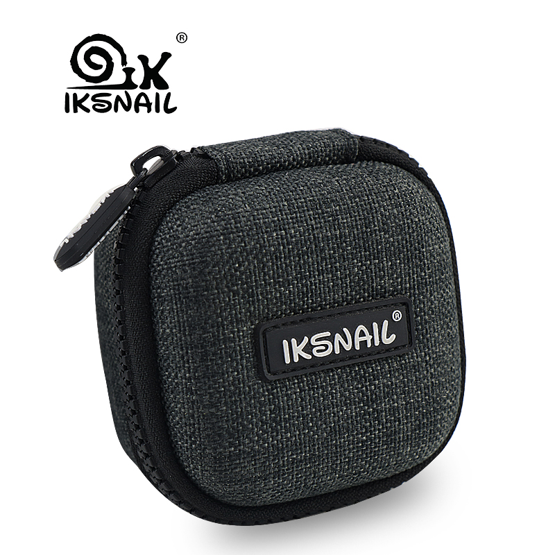 IKSNAIL Earphone Box Fiber Zipper Headphone Earphone Earbuds Hard Case Storage Carrying Pouch SD Card Hold Portable Carry Bag