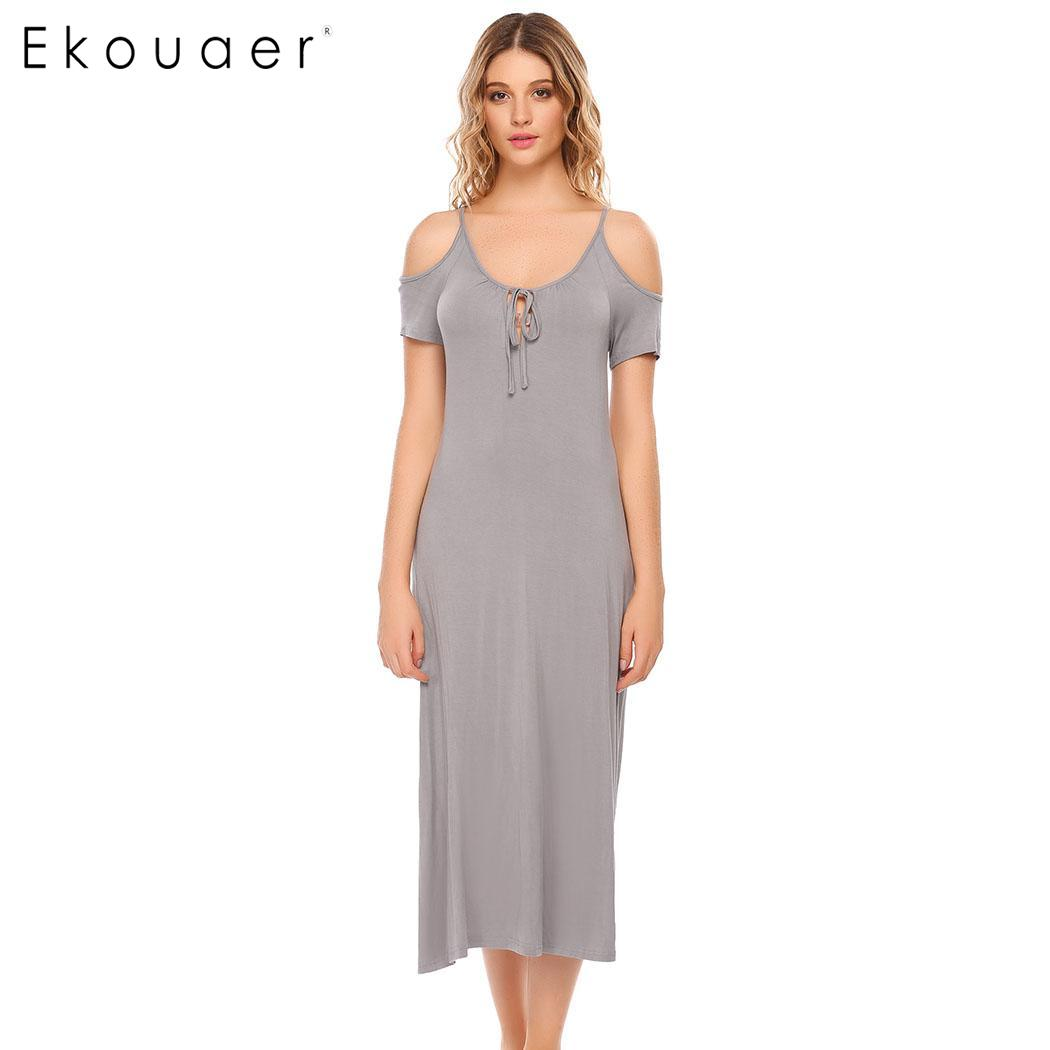Ekouaer Women Sleepwear Long Sleep Dress Cold Shoulder Short Sleeve Bow Tie neck Solid   Nightgown     Sleepshirts   Dress Homewear