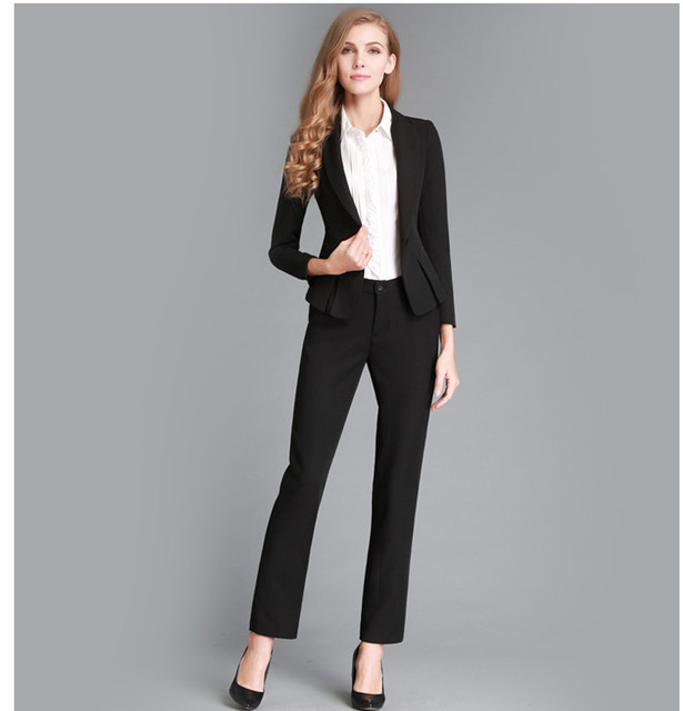 d02126a63e1 2015 New Fashion Solid Women Business Suits Custom made Black Formal Office  Suits Work Long Sleeve Plus Size Suits
