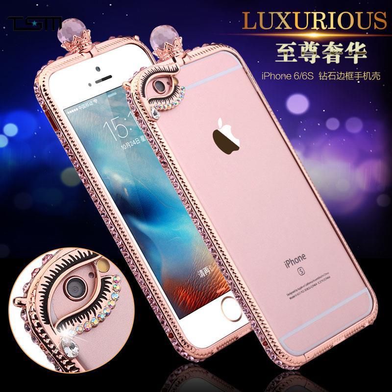 bilder für Luxus Kristall Bling Diamant Rahmen vergoldete Feld-stoßfall Für Iphone 6 6 S Plus Hard Cover PC Überzug Rand Stieg Gold Capa