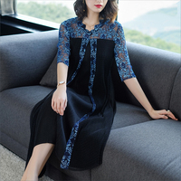 Europe fashion High end Women Dresses 2018 Summer New Large Size Women's waist was thin Embroidery Lace Dress Female A87