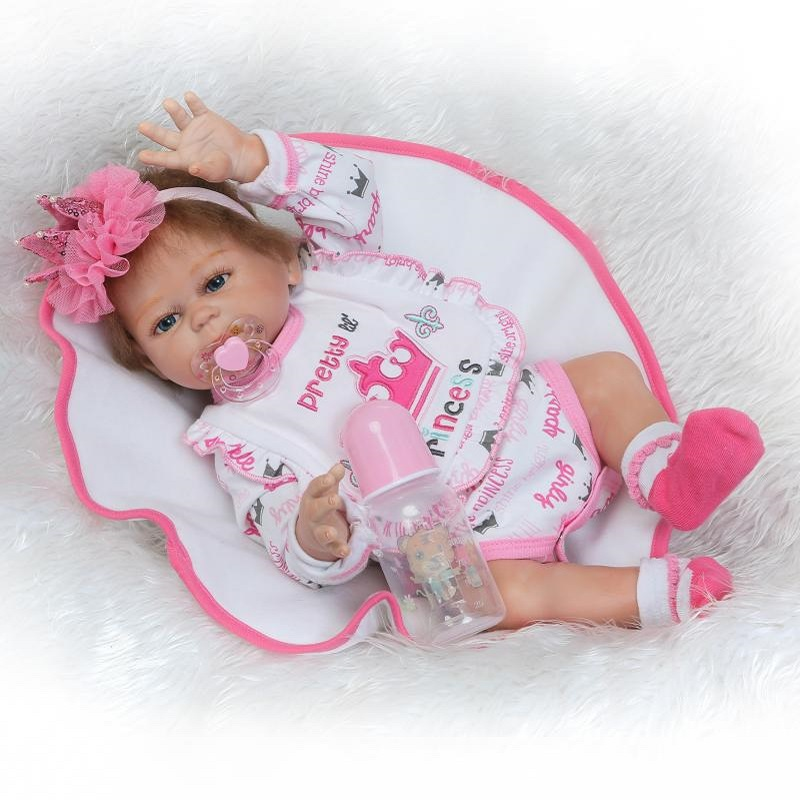 Nicery 20inch 50cm Bebe Reborn Doll Hard Silicone Boy Girl Toy Reborn Baby Doll Gift for Children Pink Pretty Crown Baby Doll nicery 18inch 45cm reborn baby doll magnetic mouth soft silicone lifelike girl toy gift for children christmas pink hat close